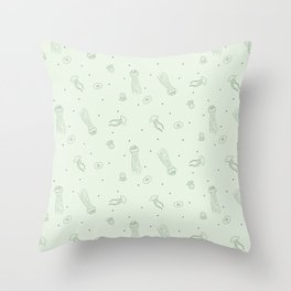 Jellyfish in Green Throw Pillow