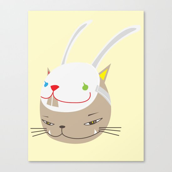 CAT WITH RABBITZ MASK Canvas Print