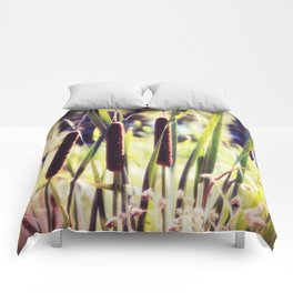 Three Cattails in Strong Sunlight Retro Style Comforters