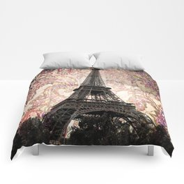 Floral Eiffel Tower in Paris, France Comforters