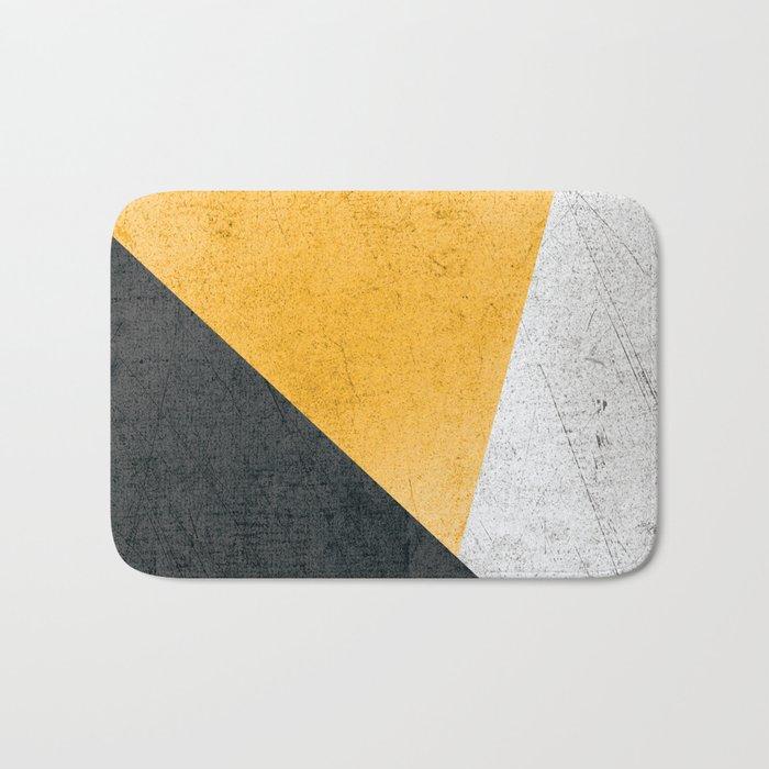 Modern Yellow & Black Geometric Bath Mat