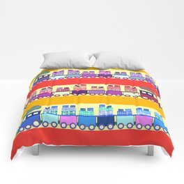Colorful trains with Christmas gifts Comforters