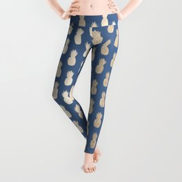 Gold Pineapples on Aegean Blue Leggings