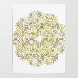 Mandala Multi Metal Yellow Gold Poster