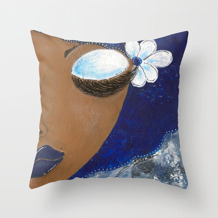 Sassy Girl Royal Blue and White Throw Pillow