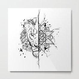 Lion Mandala Handmade Drawing, Made in pencil and ink, Tattoo Sketch, Tattoo Flash, Blackwork Metal Print