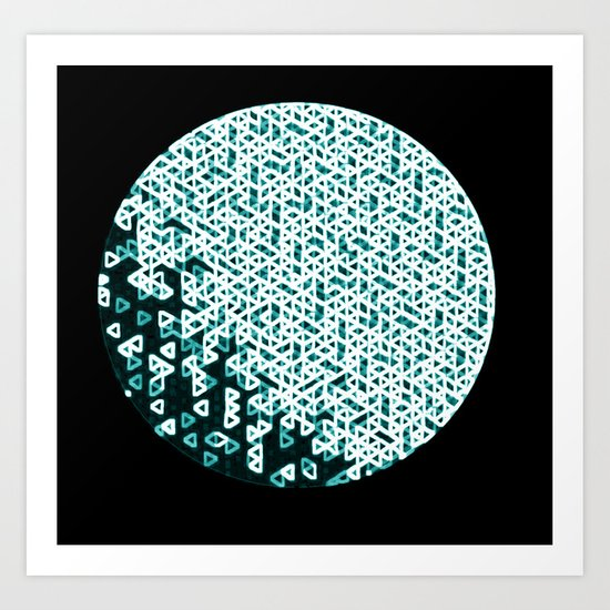 Glowing Green Circle Art Print