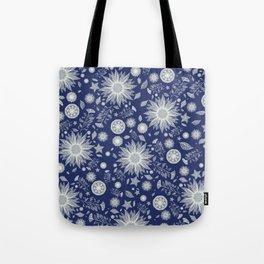 Beautiful Flowers in Navy Vintage Floral Design Tote Bag