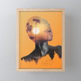 Portrait of Woman with Sunrise Nature Landscape Framed Mini Art Print