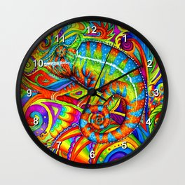 Psychedelizard Colorful Psychedelic Chameleon Rainbow Lizard Wall Clock