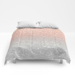 Modern trendy rose gold glitter ombre silver glitter Comforters