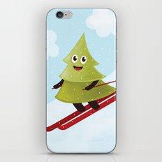Happy Pine Tree on Ski iPhone & iPod Skin