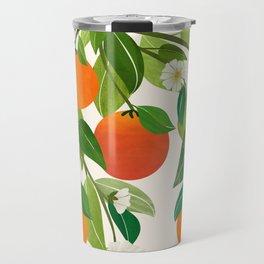 Oranges and Blossoms II / Tropical Fruit Illustration Travel Mug