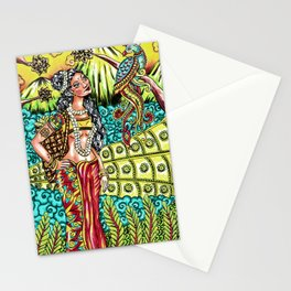 Indian woman in traditional ethnic dress with peacock Stationery Cards