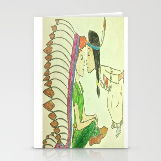 Peter Pan and Tiger Lily Stationery Cards