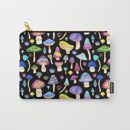 Colorful Mushroom Watercolor on Black Carry-All Pouch