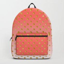 Elegant Polka Dots -Living Coral & Gold- Backpack