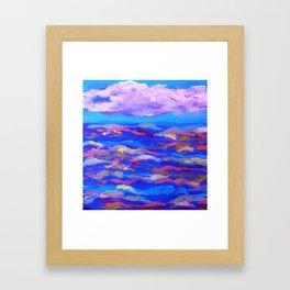 Blue Ocean Pink Waves Framed Art Print
