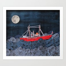 Nantucket Paper-Cut Diorama  Art Print