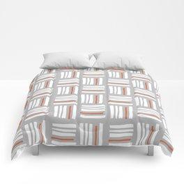 Stripes×Checkered Pattern_Gray&Orange Comforters