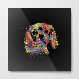 Colorful Cavalier King Charles Spaniel Metal Print
