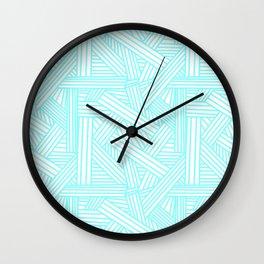 Sketchy Abstract (Aqua & White Pattern) Wall Clock