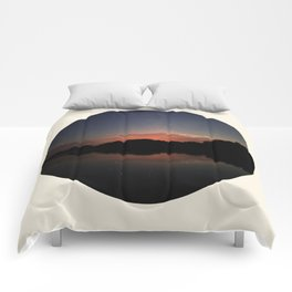 Mountain Sunset Silhouette With Stars Comforters