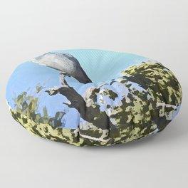 Blue Bird In Paradise Floor Pillow