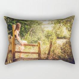 Summer-haze landscape Rectangular Pillow