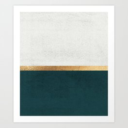 Deep Green, Gold and White Color Block Art Print