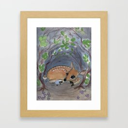 """Lost in the Woods"" A Deer and Hedgehog Portrait Framed Art Print"