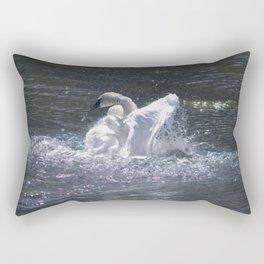 Swan's Lake - Preening Trumpeter Swan Rectangular Pillow