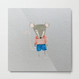 Shy Little Mouse Forest Friends Metal Print