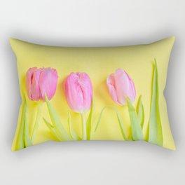 Three pink tulips on yellow Rectangular Pillow