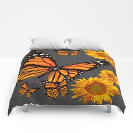 MONARCH BUTTERFLIES & GOLDEN SUNFLOWERS ON GREY Comforters