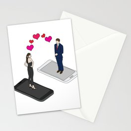 Online dating shirt for couples who foun each other Stationery Cards