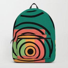 Retro disco circles green peach ochre  Backpack