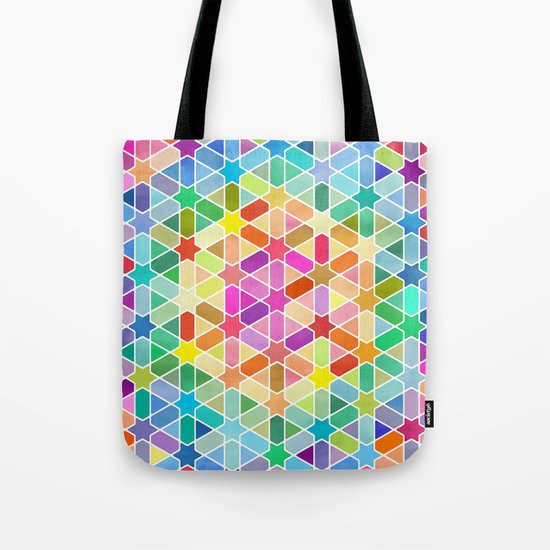 Rainbow Honeycomb with Stars Tote Bag