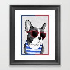 Frenchie Summer Style Framed Art Print