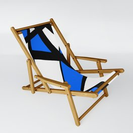 China Blue Geometric Triangle Abstract Sling Chair