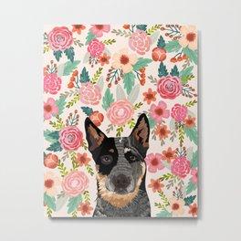 Australian Cattle Dog blue heeler floral pet portrait art print and dog gifts Metal Print