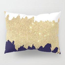 Modern navy blue white faux gold glitter brushstrokes Pillow Sham