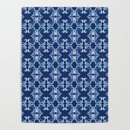 Ultra Elegant Ornamental Feng Shui Psychedelic Micro Pattern Poster