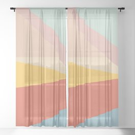 Retro Abstract Geometric Sheer Curtain