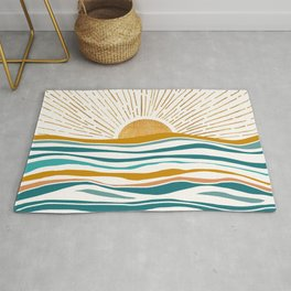 The Sun and The Sea - Gold and Teal Rug