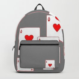 GREY COLORED ACES RED HEARTS CASINO PLAYING CARDS Backpack