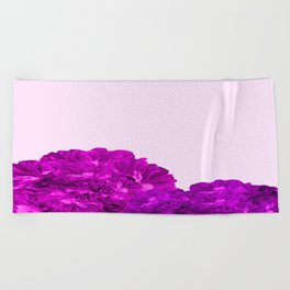 Purple Peonies On A Pink Background #decor #society6 #buyart Beach Towel