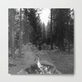 Backpacking Camp Fire B&W Metal Print