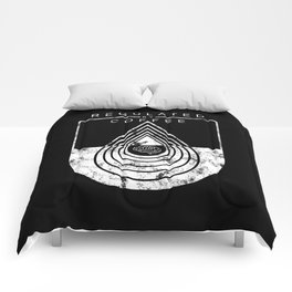 Caffeine on the Brain // B&W Regulated by Coffee Espresso Drip Distressed Living Graphic Design Comforters