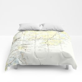 Vintage Map of Kittery Maine (1944) Comforters
